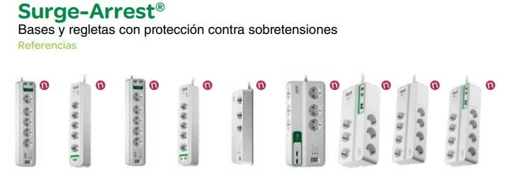 Regleta enchufes protección contra sobretensiones 2 USB SurgeArrest